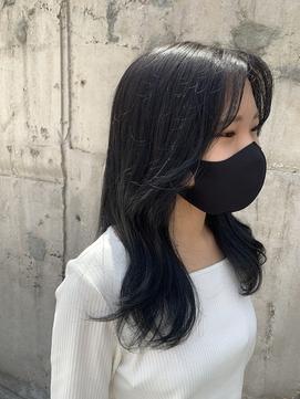 大人かわいい、韓国式小顔カット、ときめきブルーブラック*
