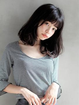 [K-two銀座]ナチュラルエアリーミディアム/ロブ/黒髪
