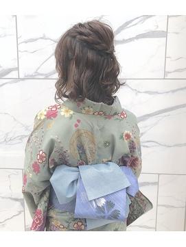【#わだむすび】浴衣、ボブハーフアップアレンジ