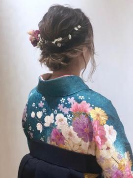 ダウンスタイル 袴ヘアセット