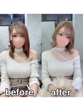 【regalo】お客様before &after マスクの似合うショートヘア