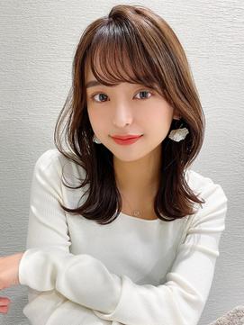 前髪パーマ/韓国くびれミディアム/ラベンダーカラー/モテ髪