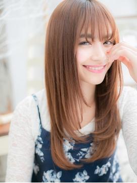 ピンクカラーxシースルー前髪♪ロングレイヤーb20代30代40代!