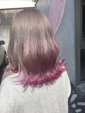 原宿系☆ピンク裾カラー
