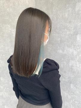 インナーカラー/ブルー/艶髪/アッシュブラウン/透明感