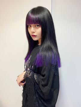シールエクステを使ったパープル裾カラー