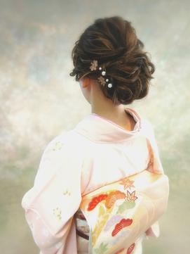 和装のお着物のヘアセット★訪問着着付+ヘアセット10000円