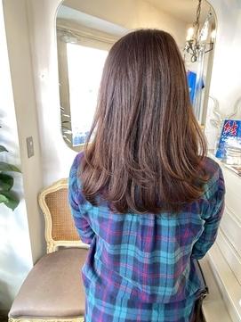 伸ばし中重めロングココアブラウン艶カラー梅ヶ丘美容室
