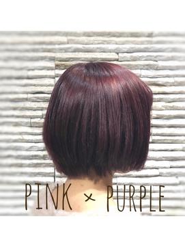 ピンクパープル × スッキリショートボブ 《川口,川口元郷》