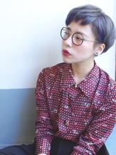 [ethica_南船場]ネイビーグレー+ショートマッシュ+丸メガネ メガネ.57