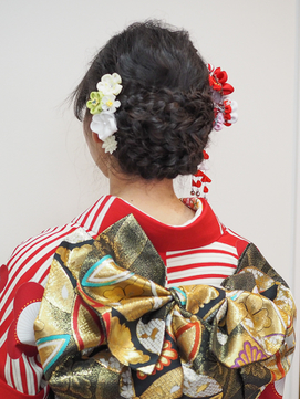三つ編みレトロ和装アップ*成人式振袖style