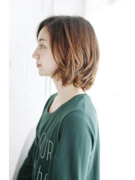 小顔セミウェットウェーブハイライトカラー美髪オリーブカラー40