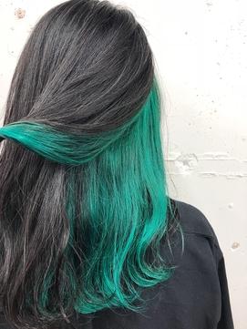 黒髪×グリーンインナーカラー☆