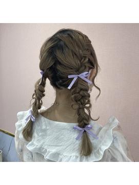 髪の毛リボン×三つ編みツイン