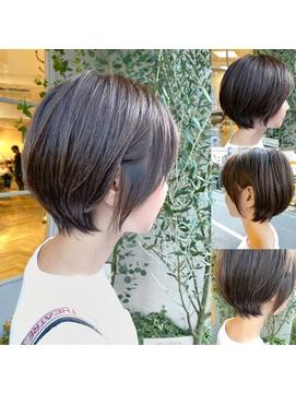 前髪ありまるみショート20代30代40代ヘアスタイル 梅ヶ丘美容室