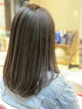 重め黒髪ストレート☆ツヤ髪/毛先ワンカール/ダークブラウン