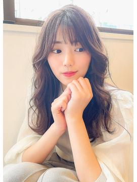 ☆透け感バング☆無造作カール大人っぽフォギーベージュミディ