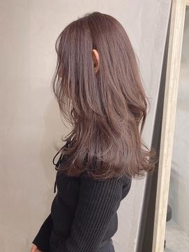 ピンクアッシュ_メルティカラーラベージュピンクベージュ前髪