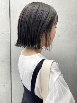 【三ツ井純】透明感カラー 切りっぱなし 外ハネボブ 20代30代