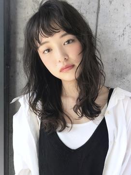 【NORAGINZA 高橋】ゆるパーマで黒髪でもナチュラルふわミディ☆