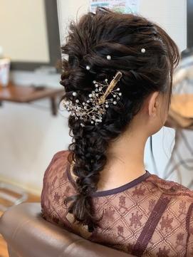 結婚式お呼ばれ編みおろしヘアセット♪