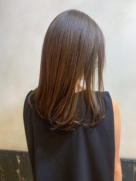 秋カラー栗色アッシュ×ストレートワンカール K