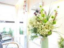サロン内にも緑とお花が…♪