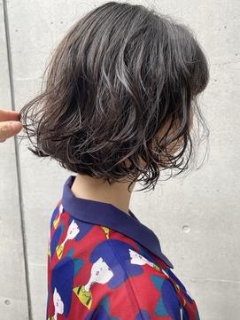【三ツ井純】黒髪 無造作パーマ ボブ 20代30代 愛されモテパーマ