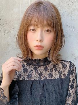 ボブルフ/くびれ/小顔カット/外ハネ/毛先パーマ/ピンクベージュ