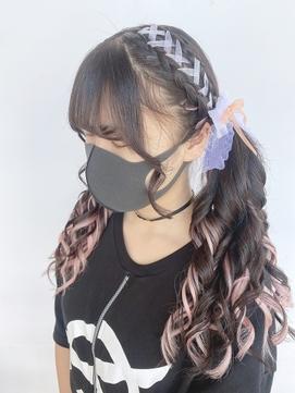 ライブ用ヘアセット/dseエクステ/リボンアレンジ/レースアップ