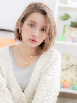 【macaron】自然体☆ホワイトミルクティー柔らかフェザーボブ