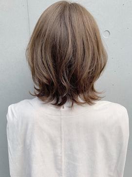 *外ハネくびれイヤリングカラーイメチェンラベンダーカラー黒髪