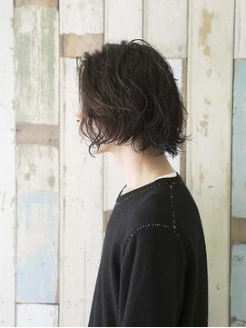 □メンズ/ミディアム サイドグラデーション マッシュウルフ