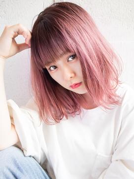 【EIGHT new hair style】オルチャンピンク×ソフトボブ