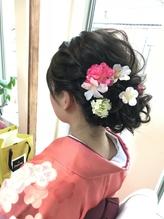 袴着付けゆるふわアップ  お花アレンジ  【ヘアアレンジ  立川】 卒業式.25