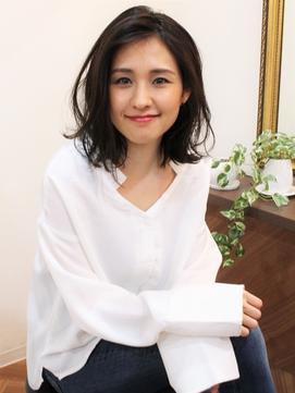+animo大沢+かきあげ前髪×切りっぱなし外ハネミディアム♪c