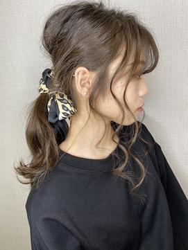 シースルーバング(うすめ前髪)×スカーフアレンジH eitchエイチ