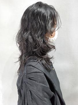 黒髪ウルフしっかりパーマ【ネオウルフ、ハイレイヤー】