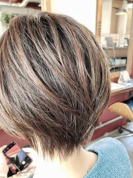 40代明るめ白髪染めショートボブ【Ruufus恵比寿渋谷】31518