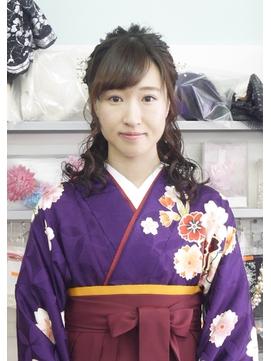 卒業袴ハーフアップ