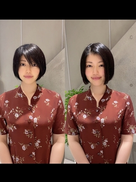 前髪エクステ20代30代大人女子 ココアブラウン切りっぱなしボブ