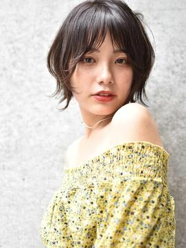 エアリーミディ/ショートパーマ/黒髪/ホワイトアッシュ/TOKIO