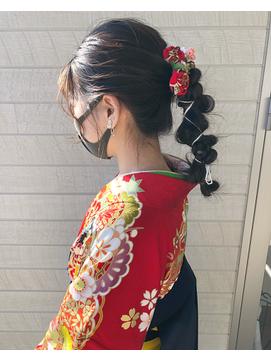 最旬卒業式ヘアセット♪紐アレンジ♪袴ヘアアレンジ