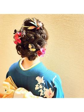 [結婚式/パーティなどのイベントに]編み込み着物ヘアセット