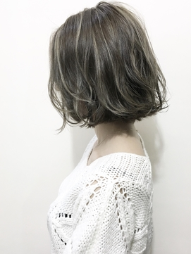 【SPLENDO立花】白髪染めでも可◎アッシュグレーのハイライト