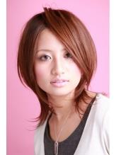 モーブカラーのワイドバングで大人かわいいくびれミディ   2 モテ髪.33