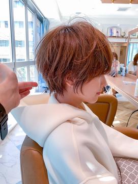 【石田勇士郎】デザインカラー厚めバングローライトスリークボブ