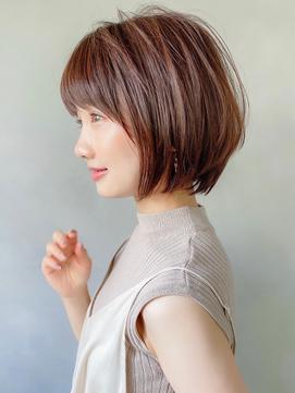 Aラインボブ小顔前髪イメチェンくびれ透明感マロンベージュ ○