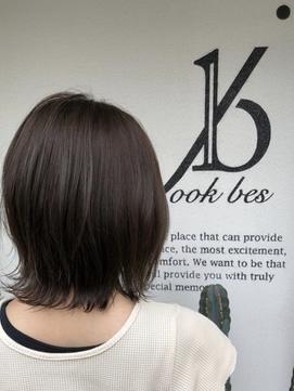 30代40代ココアブラウン前髪シースルーバング 【稲毛】