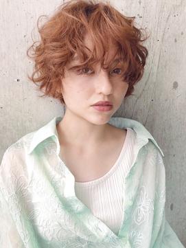【SiSTA】オレンジベージュ×カーリーヘア